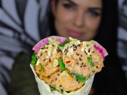 A poke cone from a previous food event at Garden State Plaza, the food blogger event InstaYum