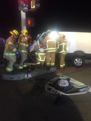 Ventura fire crews respond to a crash early Monday that resulted in the arrest of a man on suspicion of DUI.