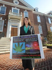 Zoe Patchell, one of Delaware's leading lobbyist for marijuana legalization, is seen outside Legislative Hall in Dover.