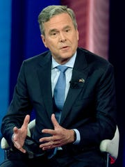 In this Feb. 18, 2016, file photo, former Florida Gov. Jeb Bush speaks at a town hall meeting at the University of South Carolina in Columbia, S.C., while pursuing the Republican presidential nomination.