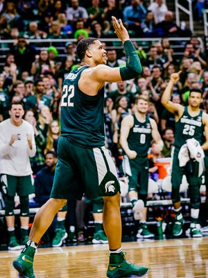 Miles Bridges of MSU celebrates after laying the ball in on a wild cutting drive to the basket late in the 2nd half of the Spartans' game with Nebraska Thursday February 23, 2017 in East Lansing.