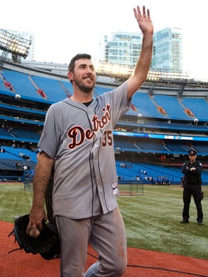 Tigers pitcher Justin Verlander acknowledges the crowd after throwing a no-hitter against the Blue Jays in Toronto on Saturday, May 7, 2011. This was Verlander's second career no-hitter.
