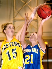 Pictured here in 2006, Katie Vican, left, is Eastern York's second all-time leading girls' basketball scorer with 1,313 points.
