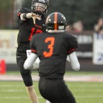 Luke Helwing of Brighton scored the first Bulldogs touchdown of the season on a 7-yard pass from Grant Dunatchik in the second quarter Thursday.