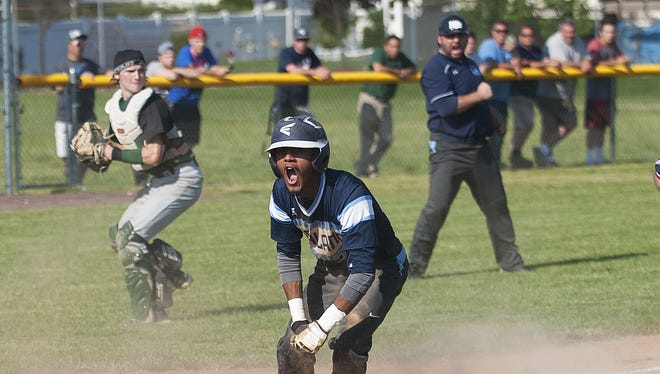 Highland's Alfonso Duran reacts after scoring the winning run in the sixth inning of Thursday's 1-0 victory over Seneca in a South Jersey Group 3 quarterfinal.