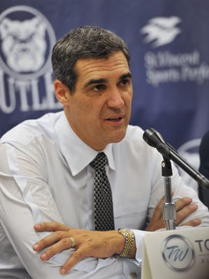 Villanova coach Jay Wright speaks to the media after the Wildcats beat Butler 76-73 in overtime at Hinkle Fieldhouse on Dec. 31, 2013. Villanova and Butler are 1-2 in the Big East this season and meet again at Hinkle on Saturday.