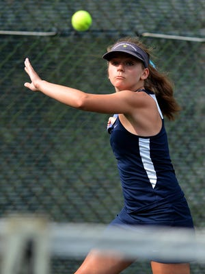 Meghan Salaga, above, teamed with Morgan Kistler in the York-Adams League Girls' Tennis Class 3-A Doubles Tournament. The Wildcats team took second.