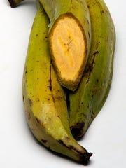 Unripe plantains.