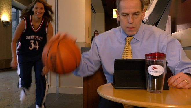 Kelley Gay sneaks up on OneAmerica CEO Scott Davison to steal his dribble as part of a promotional video.