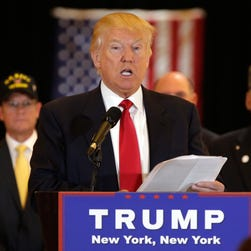 Donald Trump speaks at a conference in New York on May 31, 2016.