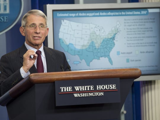 Anthony Fauci, director of the National Institute of  Allergy and Infectious Diseases, speaks about the Zika virus at the White House in April.
