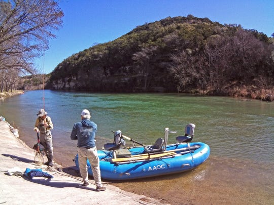 This is the launch or take-out area at Rio Guadalupe Resort at Sattler below Canyon Lake. We caught four rainbows within sight of the resort.