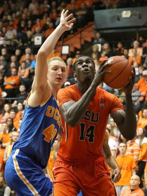 Oregon State forward Daniel Gomis goes up for a shot during the Beavers' 66-55 victory over UCLA at on Jan. 22, 2015 at Gill Coliseum in Corvallis.