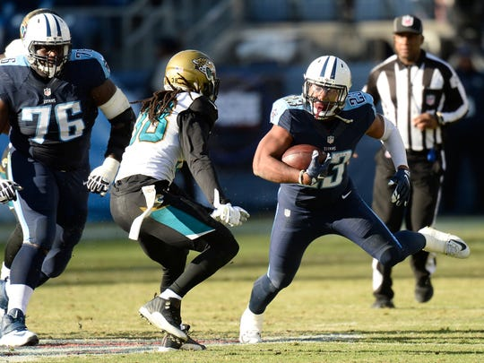 Titans running back David Cobb carries the ball against the Jaguars in the second half Dec. 6, 2015 in Nashville, Tenn.