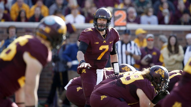 Minnesota quarterback Mitch Leidner (7) calls a play at the line of scrimmage during the first half on Oct. 17 against Nebraska in Minneapolis.