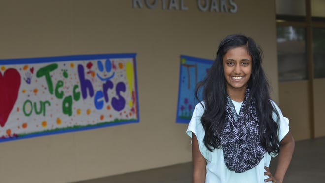 Royal Oaks Elementary School sixth grader Serena Gowani, 11, is being recognized by school staff for seven years of perfect attendance.