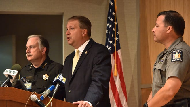 From left, Orange County Sheriff Carl E. DuBois, Orange County District Attorney David M Hoovler and New York State Police Troop F Captain Brendan Casey announce the indictment of Angelika Graswald in a press conference at the Orange County Emergency Services Building in Goshen on Tuesday.