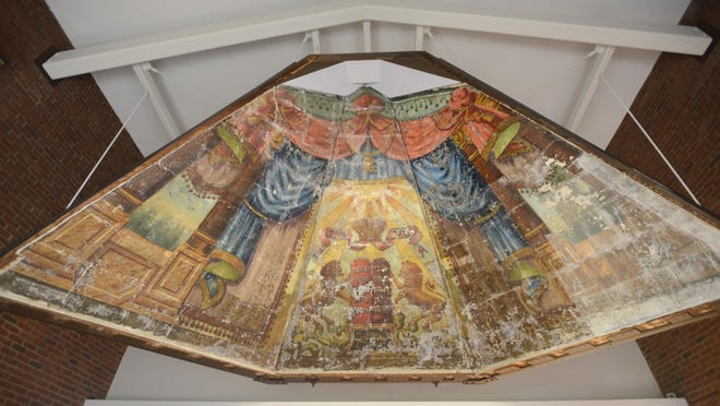 "The ""Lost Shul"" Mural now hangs in the entrance of the Ohavi Zedek Synagogue in Burlington after its move from Hyde Street to North Prospect Street."