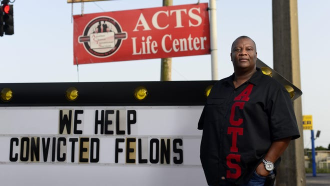 Leon Rankins, ACTS Life Center CEO and Executive Director, is photographed outside his office and worship center that offers convicted felons help getting back into society.