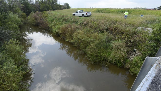 A natural drainage area called a grass waterway filters nutrients from flowing from the crop field into the Muskellunge Creek and eventually into Lake Erie.