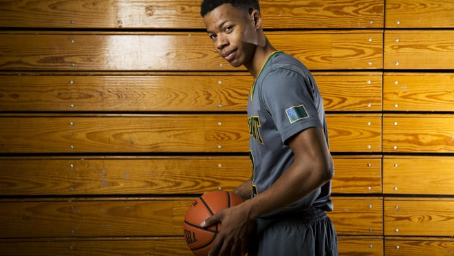 Vermont men's basketball guard Trae Bell-Haynes poses for a portrait at Patrick Gym on Nov. 5 in Burlington.