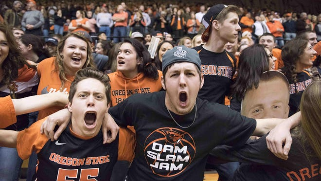 Jan 6, 2016; Corvallis, OR, USA; Oregon State Beavers fans react during the first quarter of the game against Stanford Cardinal at Gill Coliseum. Mandatory Credit: Cole Elsasser-USA TODAY Sports