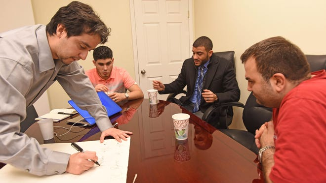 Yassine Elkaryani,Ahmed Abaras, Islam Sery and Bader Risheg, a Muslim focus group, gather at an office in Hackensack.