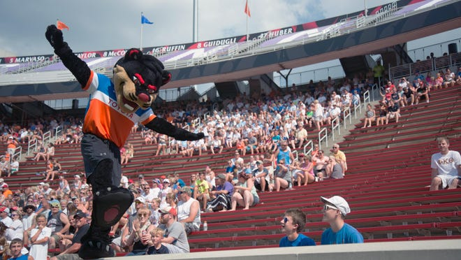 University of Cincinnati's bearcat mascot pumps up the crowd in his FC Cincinnati gear during the Louisville game at Nippert Stadium Saturday July 23, 2016. FC Cincinnati won 2-0 against Louisville City FC.