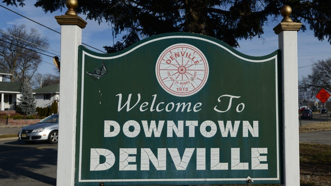 The Denville welcome sign faces Route 46 where it crosses West Main Street.