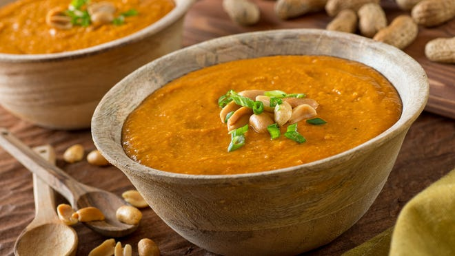 """Rachel Forrest's recipe for Peanut Soup is adapted from Toni Tipton-Martin's book, """"Jubilee: Recipes From Two Centuries of African American Cooking"""" (Clarkson Potter, $35),  It has some Caribbean influences and Forrest uses a natural peanut butter made with local peanuts grown in the Maya village of San Antonio near her home in Belize."""