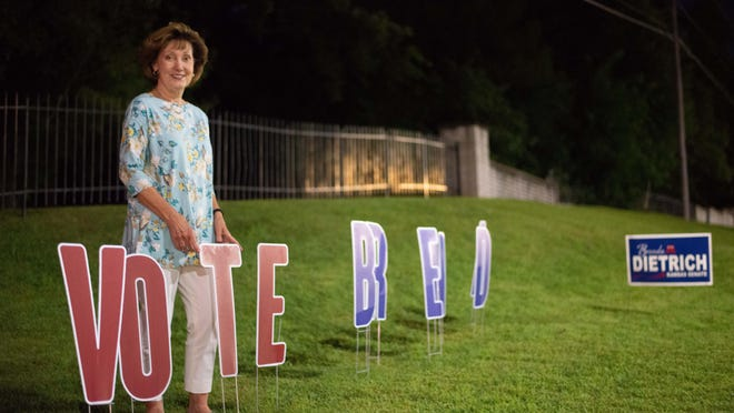 Rep. Brenda Dietrich stands next to her signs outside a residential area off S.W. Wanamaker Road in Topeka on Tuesday night. Dietrich defeated incumbent state Sen. Eric Rucker in the Republican primary for the Kansas Senate District 20 seat.