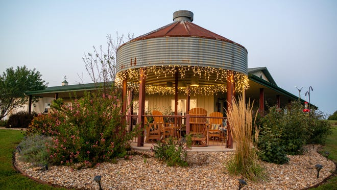 The Graggs converted an old farm silo into this gazebo to complement their wrap-around porch at their home north of Topeka.