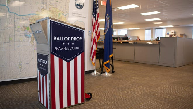 A ballot drop box stands in the Shawnee County Election Office ahead of the 2020 election. Some people are concerned about proposed changes to the deadline for mail ballots to be submitted in Kansas.