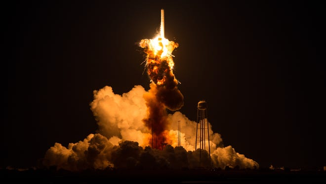 The Orbital Sciences Corp. Antares rocket, with the Cygnus spacecraft onboard, explodes moments after launch from the Mid-Atlantic Regional Spaceport Pad 0A at NASA Wallops Flight Facility on Oct. 28, 2014, on Wallops Island, Va.