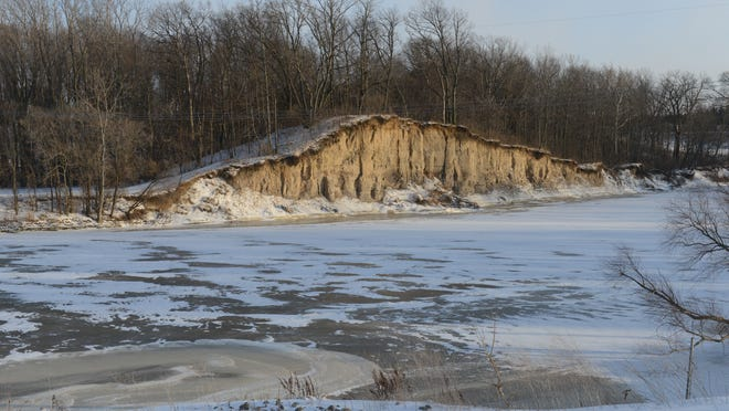 A scenic cliff is seen on the Sandusky River at the River Cliff Golf Course.