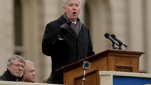 Gov. Rick Snyder, shown at his inauguration Jan. 1, will give his State of the State address Tuesday, Jan. 20, 2015.
