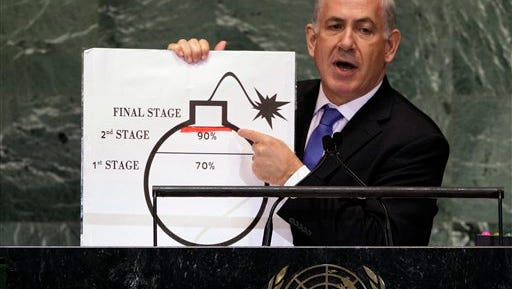 FILE - In this Sept. 27, 2012, file photo, Prime Minister Benjamin Netanyahu of Israel shows an illustration as he describes his concerns over Iran's nuclear ambitions during his address to the 67th session of the United Nations General Assembly at U.N. headquarters. Despite his speech to Congress, his efforts to halt the Iranian nuclear program _ which he describes as the mission of his lifetime _ appear to be stumbling as the U.S. seems to move toward a deal with the Islamic Republic. (AP Photo/Richard Drew, File)