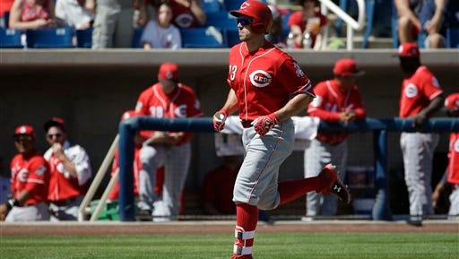 Adam Duvall hit his second home run of the spring Friday against the Brewers.