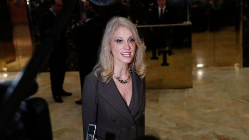 Kellyanne Conway, campaign manager for President-elect Donald Trump, speaks to media at Trump Tower, Wednesday, Nov. 16, 2016, in New York.