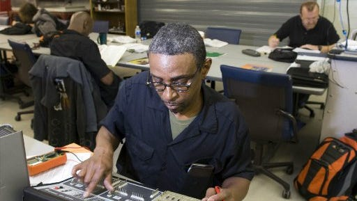 George Davis, a Tennessee Technology Center student in the industrial maintenance program, works on testing a circuit board Jan. 11, 2012.