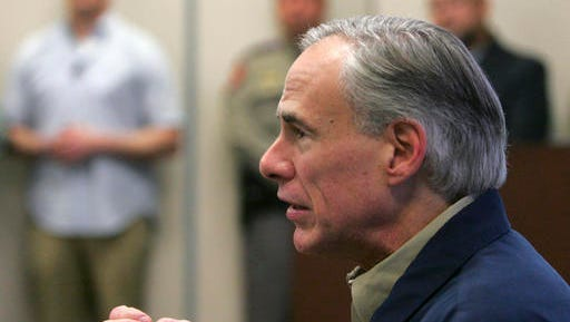 Gov. Greg Abbott talks with Secretary of Homeland Security John Kelly before a briefing on border security Wednesday Feb. 1, 2017 at the Texas Department of Public Safety regional headquarters in Weslaco, Texas. Secretary Kelly and Abbott toured the Texas border with Mexico in a helicopter following the briefing.