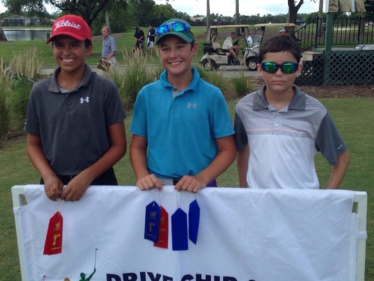 Fort Myers' Reece Kyle (center) won the Boys 14-15 Division at the Drive, Chip and Putt Championship local qualifier on Thursday, June 30, 2016, at Stoneybrook Golf Club in Estero. Gregory Moore of Cape Coral (left) and George Laios of Fort Myers also advanced to the subregional on Aug. 13. (Greg Hardwig/Staff)