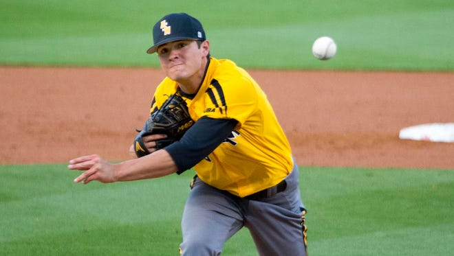 Southern Miss left-hander Stevie Powers throws against Ole Miss on Wednesday.  He allowed no earned runs over 4 1/3 innings.
