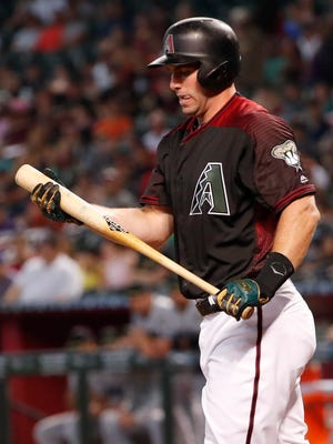 Arizona Diamondbacks first baseman Paul Goldschmidt (44) reacts after striking out against the Cincinnati Reds during the first inning at Chase Field in Phoenix May 28, 2018.
