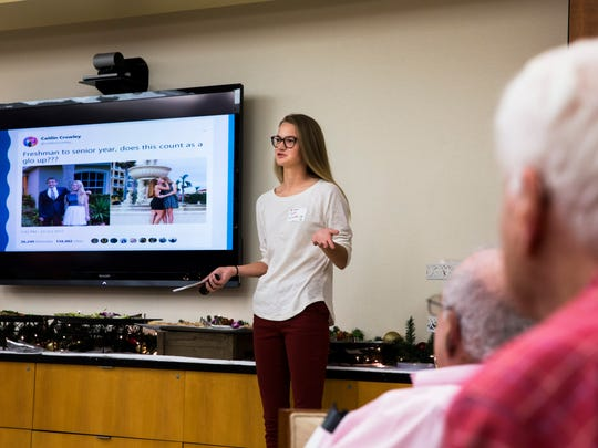 Caitlin Crowley speaks about her recent experience on going viral for her LGBTQ-related tweet during GLSEN's Ally Night fundraiser at the Wells Fargo Private Bank office in Mercato Friday, Nov. 18, 2017.