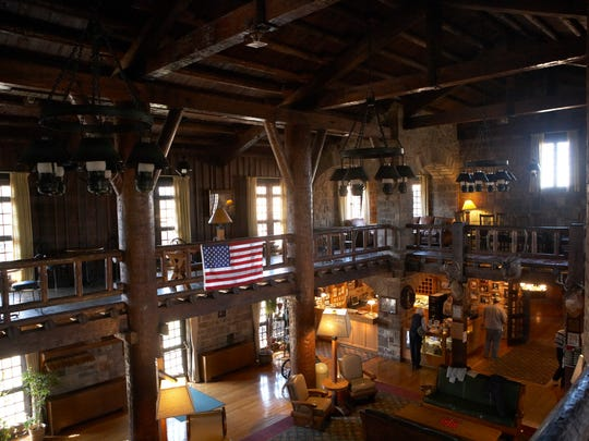 Giant City Lodge is a two-story building with white oak beams that sits at the park's highest elevation.