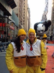 Kathryn and Jessica Accurso as balloon handlers for the SpongeBob SquarePants balloon at the Macy's Thanksgiving Day Parade in 2011. This is the first year in a dozen years that the Accursos won't be part of the parade.