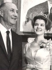 Sen. Strom Thurmond, R-S.C., and Nancy Moore are shown in this 1966 file photo taken at a GOP fund raiser.while she was Miss South Carolina. The two were married in 1968 and are presently separated. Thurmond who is retiring after serving 48 years in the U.S. Senate will celebrate his 100th birthday Dec. 5, 2002. (AP Photo/The State)