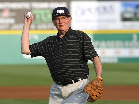 Somerset County Freeholder Director Peter Palmer throws out a ceremonial first pitch before the 2017 Atlantic League All-Star Game hosted by the Somerset Patriots at TD Bank Ballpark. July 12, 2017. Bridgewater, NJ.
