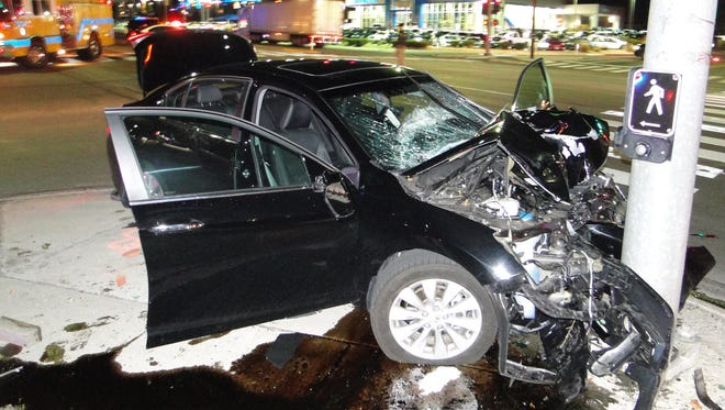 A submitted photo of a black 2013 Honda Accord after it crashed into a signal light post on South Carson Street and Koontz Lane. The driver was taken to Renown Regional Medical Center where he later died from his injuries.